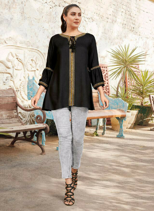 Heavy Reyon Embroidery Work Black Color Top