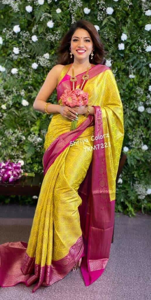 Hypnotic Yellow Colored Festive Wear Jacquard Work Lichi Silk Saree