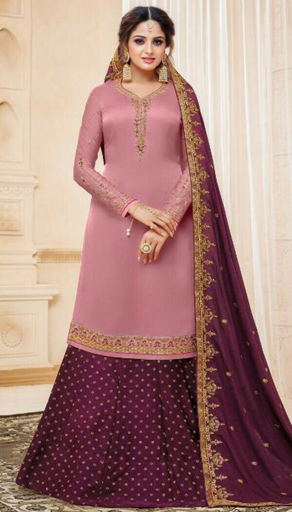 Impresive Pink Colored Party Wear Georgette Sharara Suit