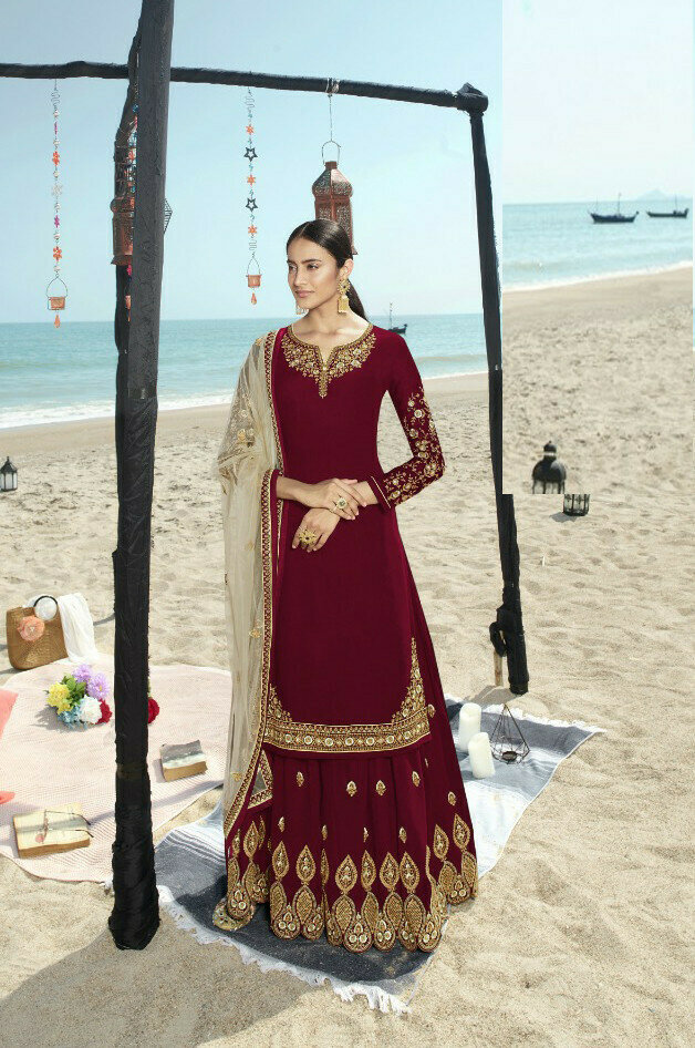 Impressive Maroon Color With Embroidered Sharara Suit