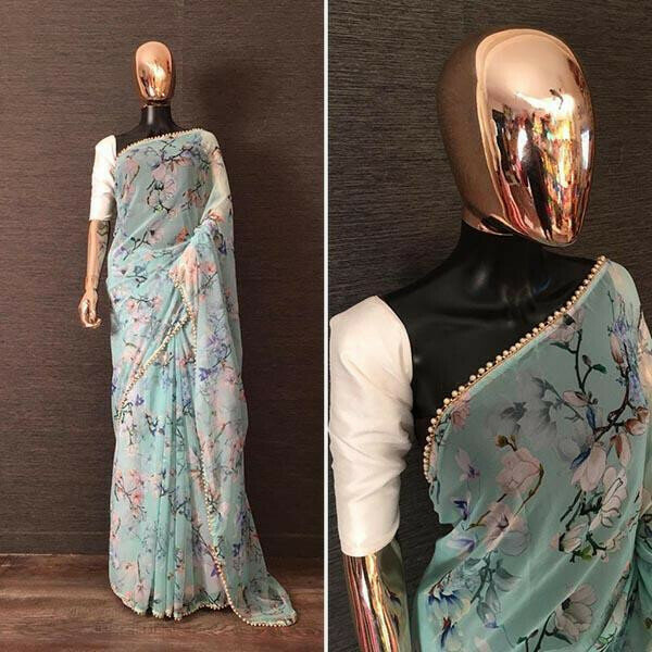 Impressive Mint Colour Georgette Printed With Pearl Lace Saree