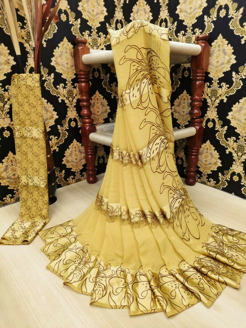 Incredible Cream Satin Printed Patta fancy designer saree