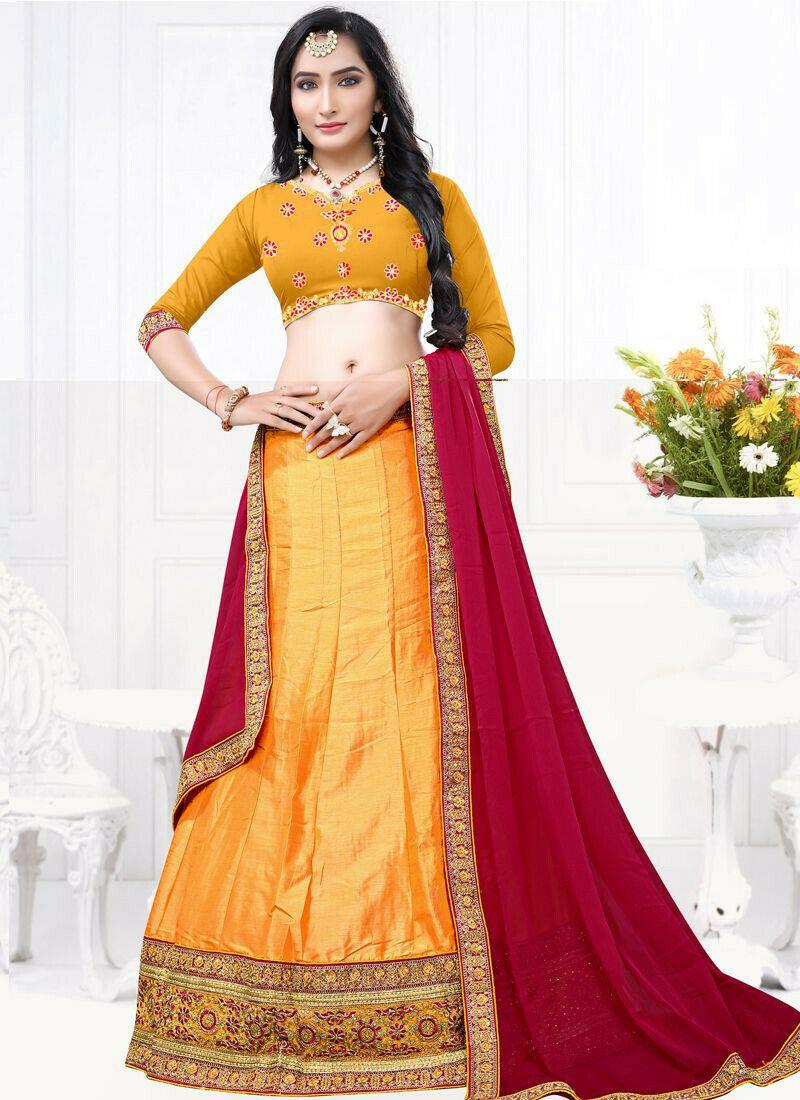 Indian Designer Milano Mustard Lehenga Choli For Bridesmaid