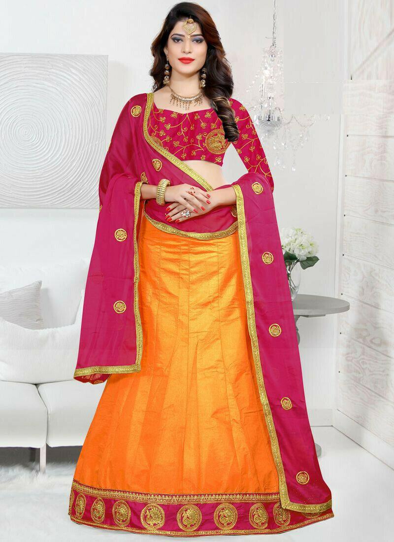 Indian Designer Sana Silk Mustard Color Lehenga Choli For Bridesmaid