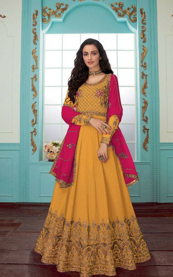 Indian Designer Yellow Color With Embroidery Work Anarkali Suit