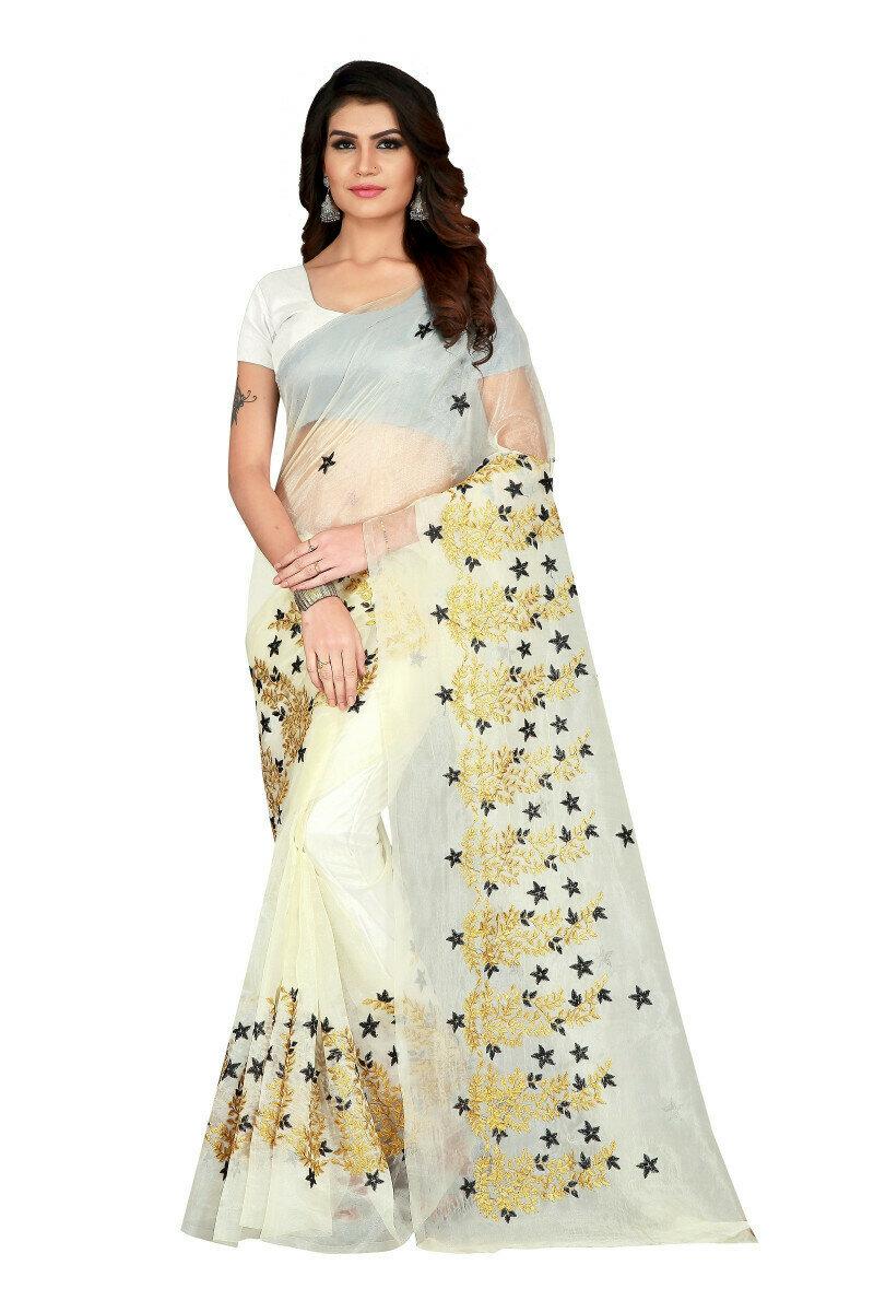 Indian Look Pretty White Color Bridal Saree