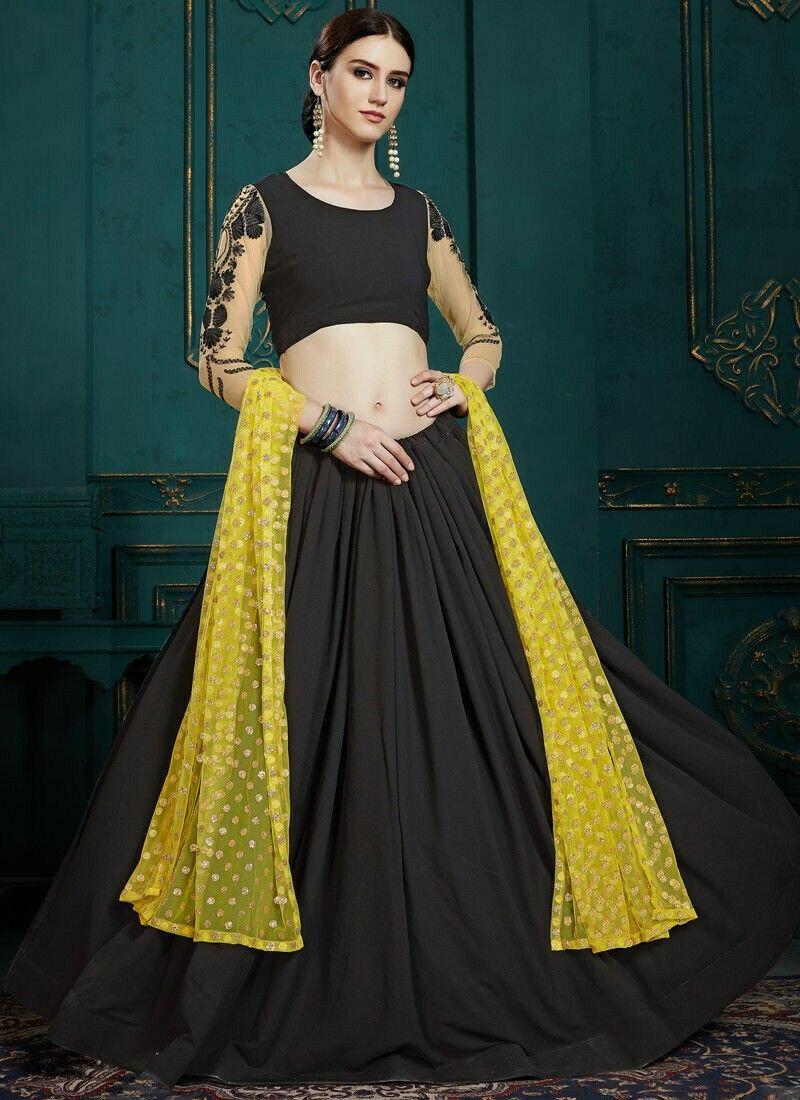 Indian Traditional Black Color Designer Lehenga Choli