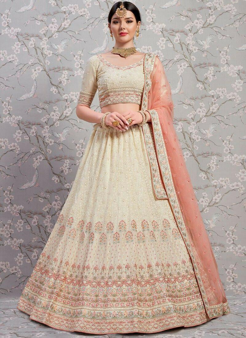 Indian Traditional Off White Designer Lehenga Choli