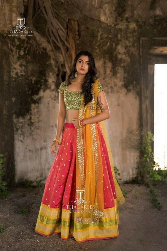 Indian Trending red colored party wear Embroidered Lehenga Choli with lace border dupatta