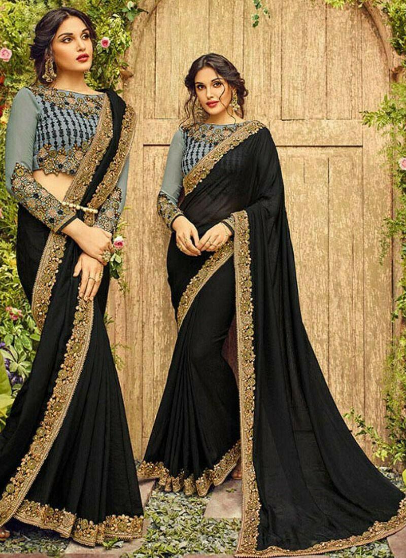 Indian Women 60 Gm Georgette Desiring Saree In Black Colour