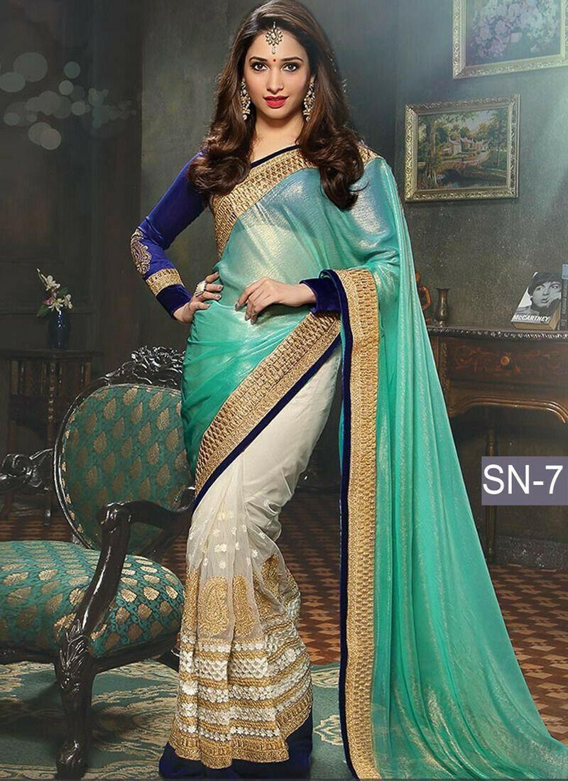 Indian Women Georgette Designer Saree In Rama Colour