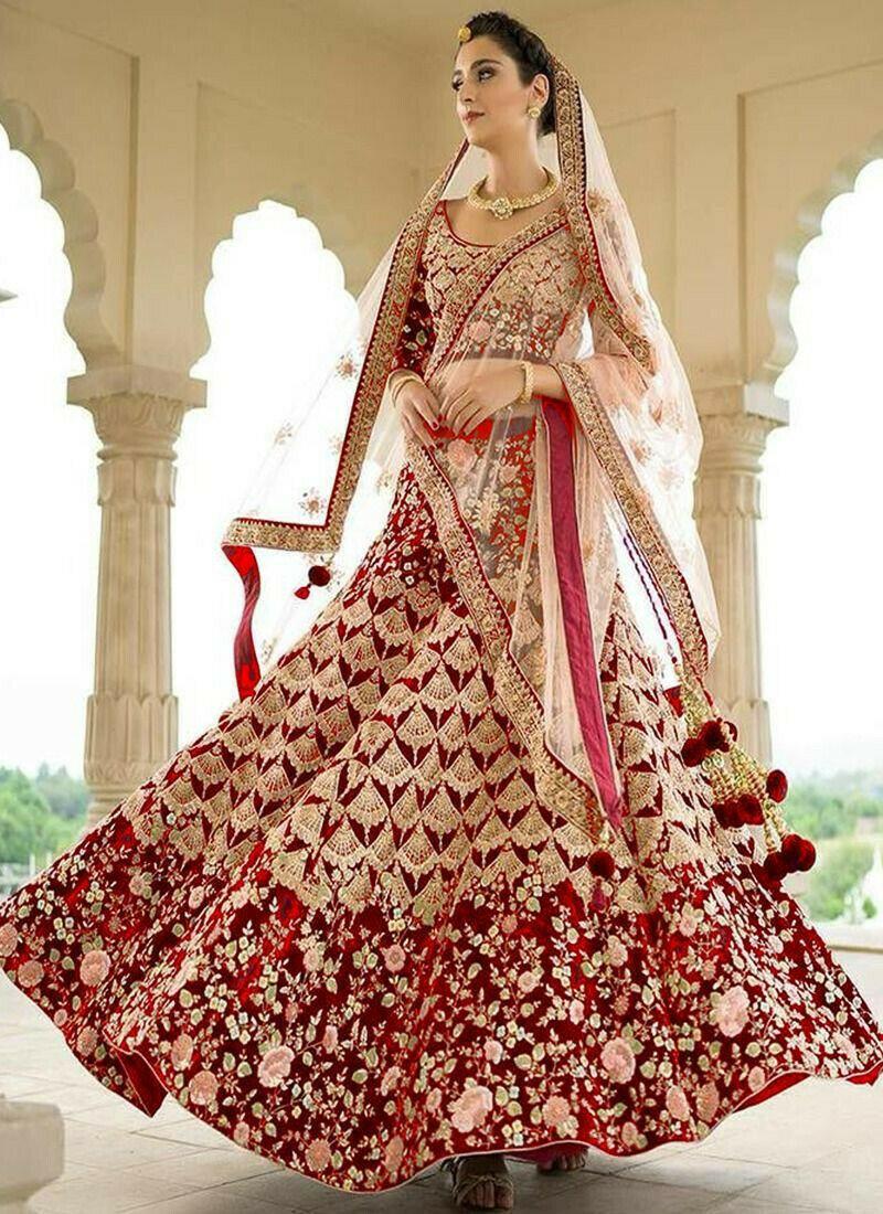Indian Women Taffeta Silk Thread Work And Hand Work Designer Lehenga In Red Colour