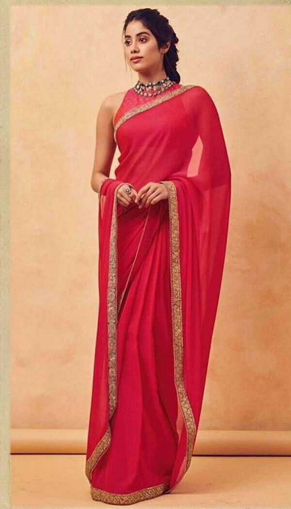 Jahnvi Kapoor Red Designer Saree