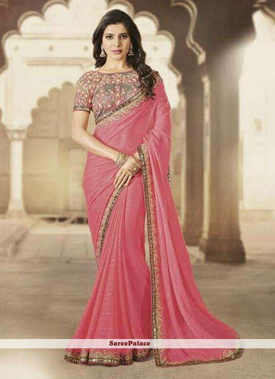 jennifer wignet Lattest Faux Georgette light pink Color Embroidery Saree With Blouse