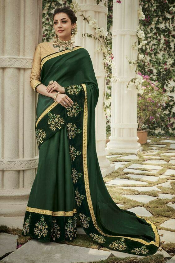 kajal agrawal Now Trending Sea Green Color Georgette Party Wear Saree 2019