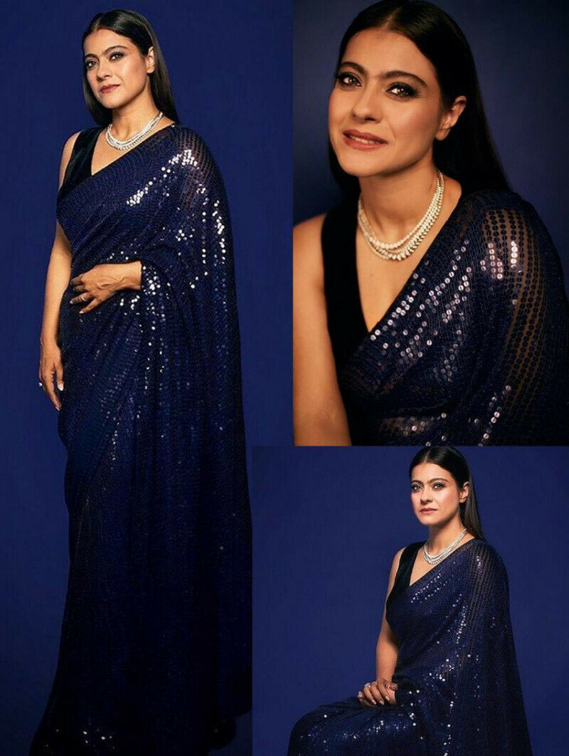 Kajol Wear Navy Blue Color Georgette Sequin Bollywood Saree (Navy Blue)