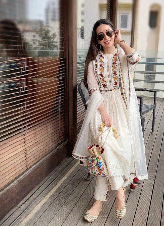 Karisma Kapoor  White Color Party Wear  Georgette Suit