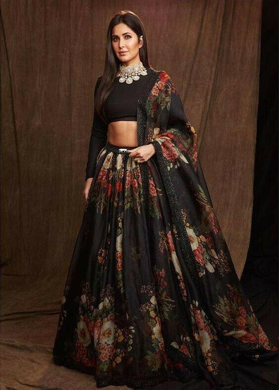 Katrina Kaif Black Floral Lehenga Choli