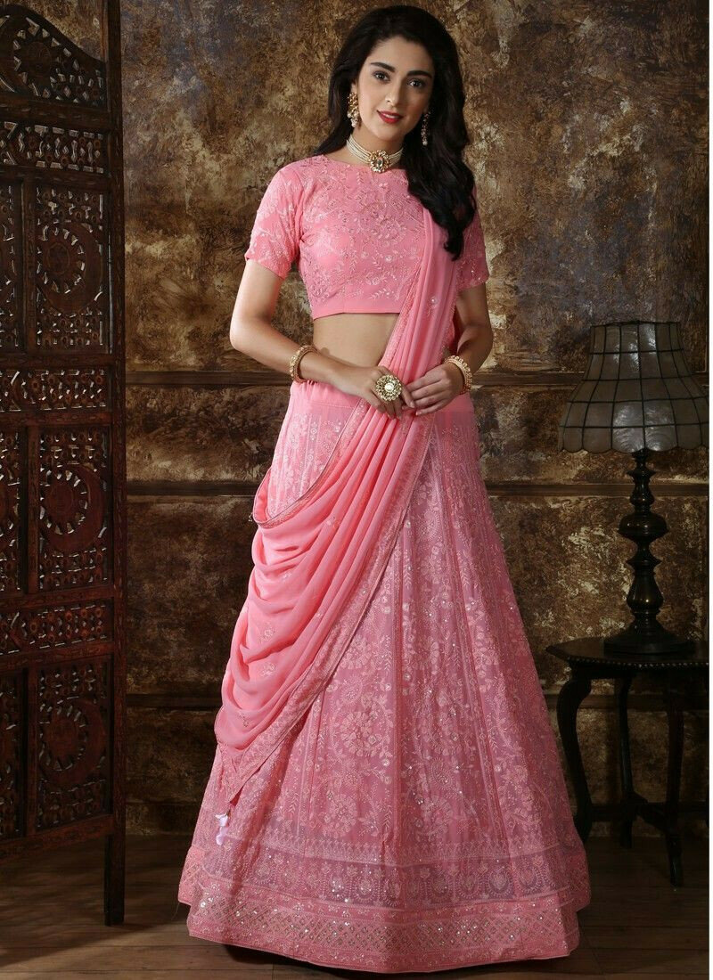 Latest Collection Dusty Pink Color Party Wear Designer Lehenga Choli