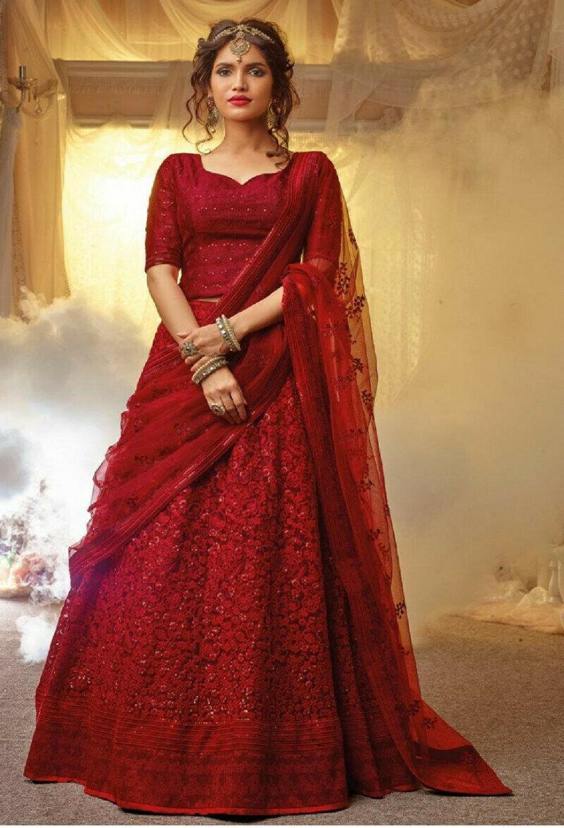 Latest Collection Red Color Bridal Lehenga Choli With Kerala Silk Fabric