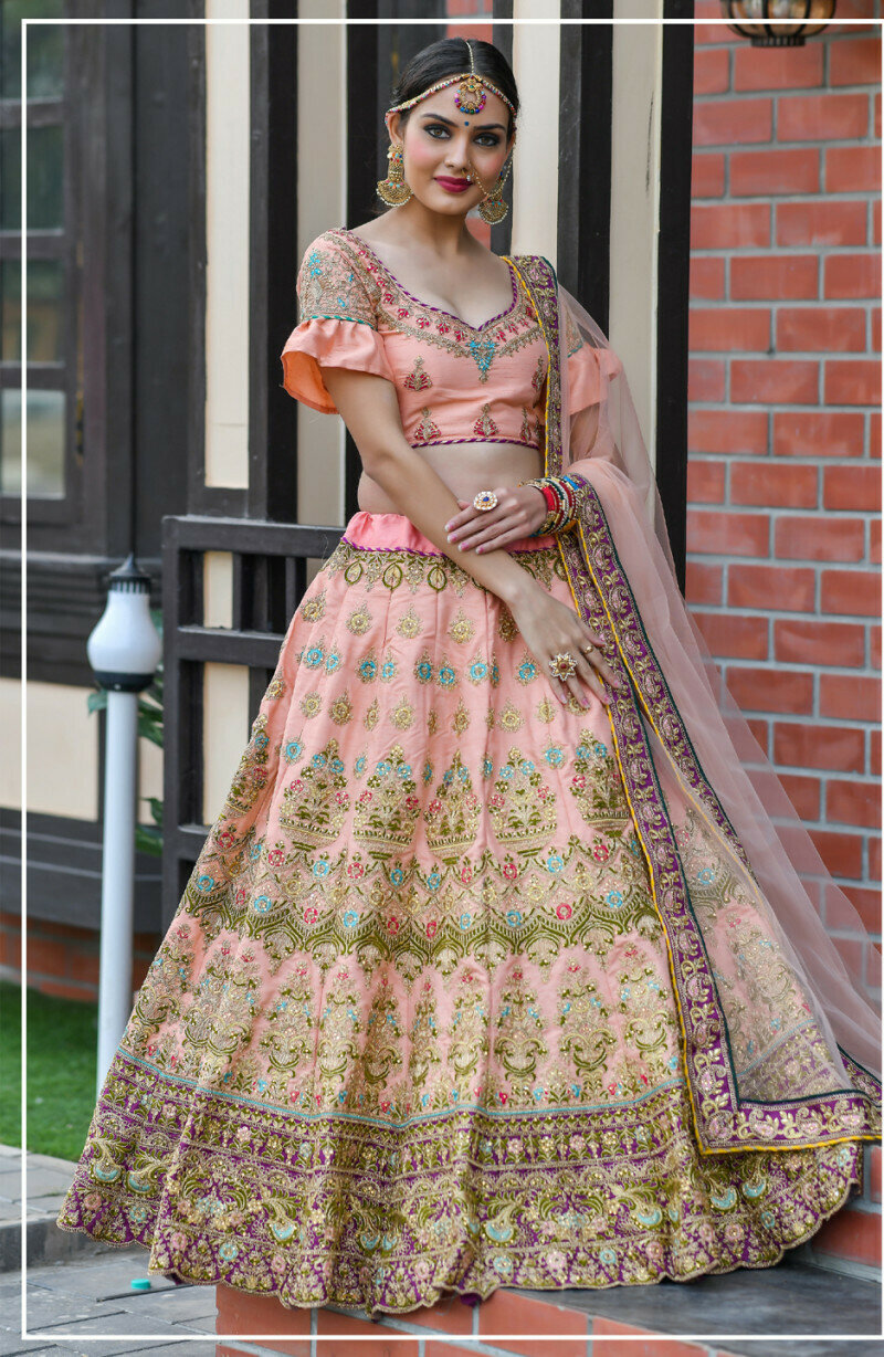 Latest Designer Beautiful PEACH Color Wedding Wear Lehenga Choli