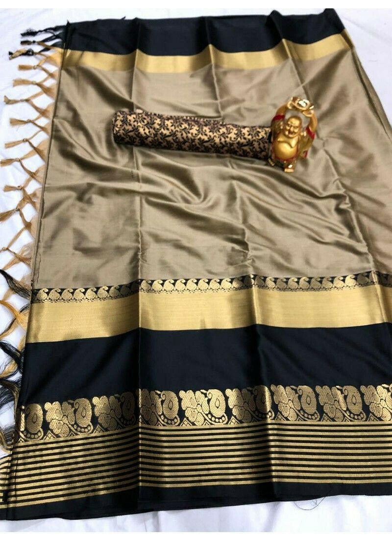 Latest Designer Chiku Cotton Silk Sarees Collection