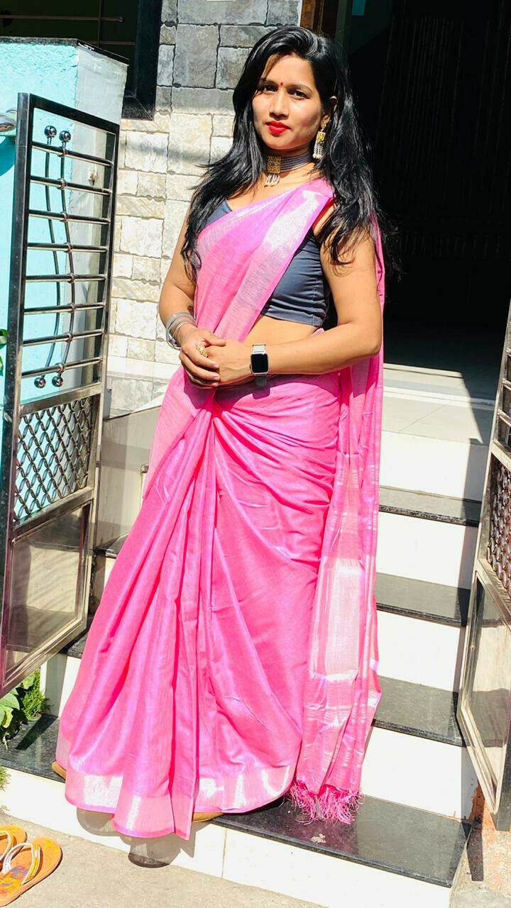 Latest Designer Dark Pink Saree