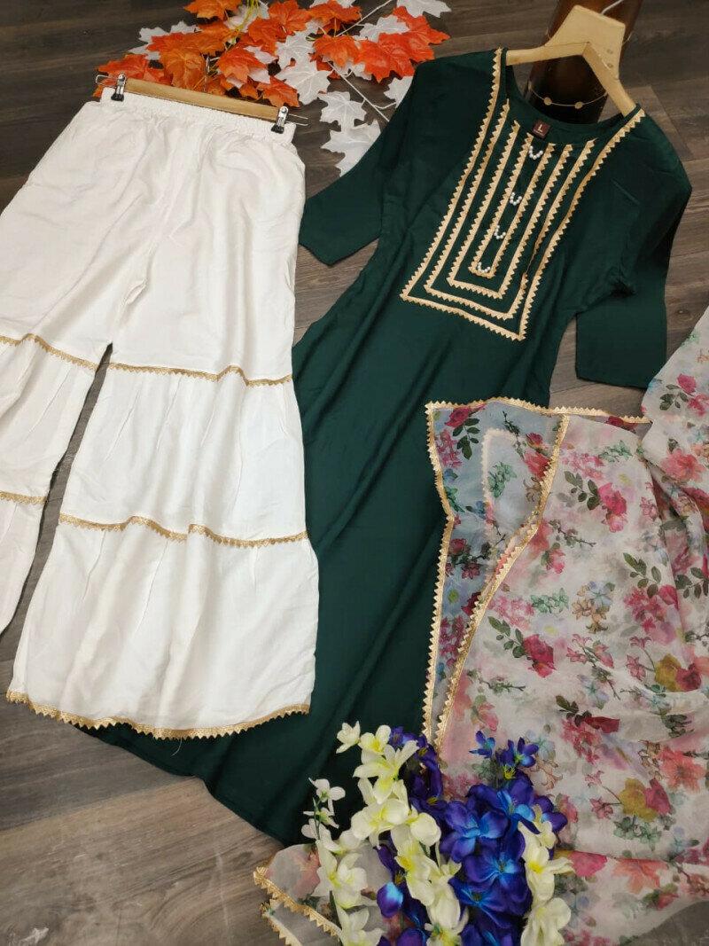 Latest Designer Green Sharara Suit