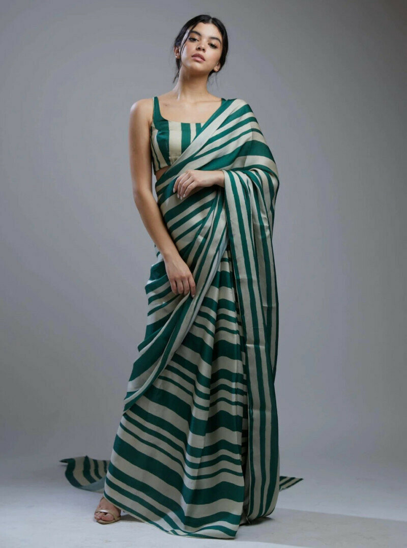 Latest Designer Green Soft Silk Saree