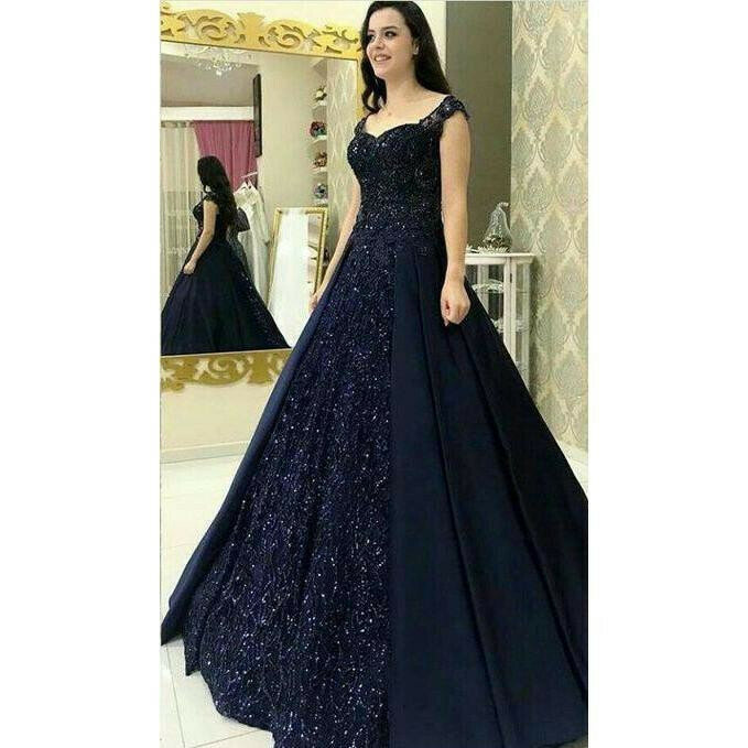 Latest Designer Navy Blue Color Diamond Work Long Gown