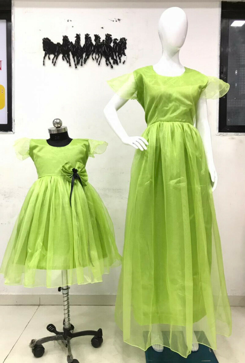 Latest Designer Parrot Mom And Girl Long Gown