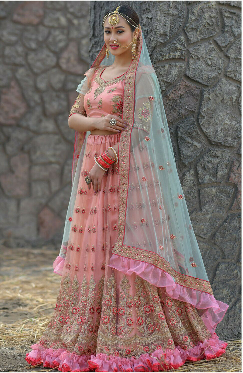 Latest Designer Pink Color Bridal Wear Embroidery Work Lehenga Choli