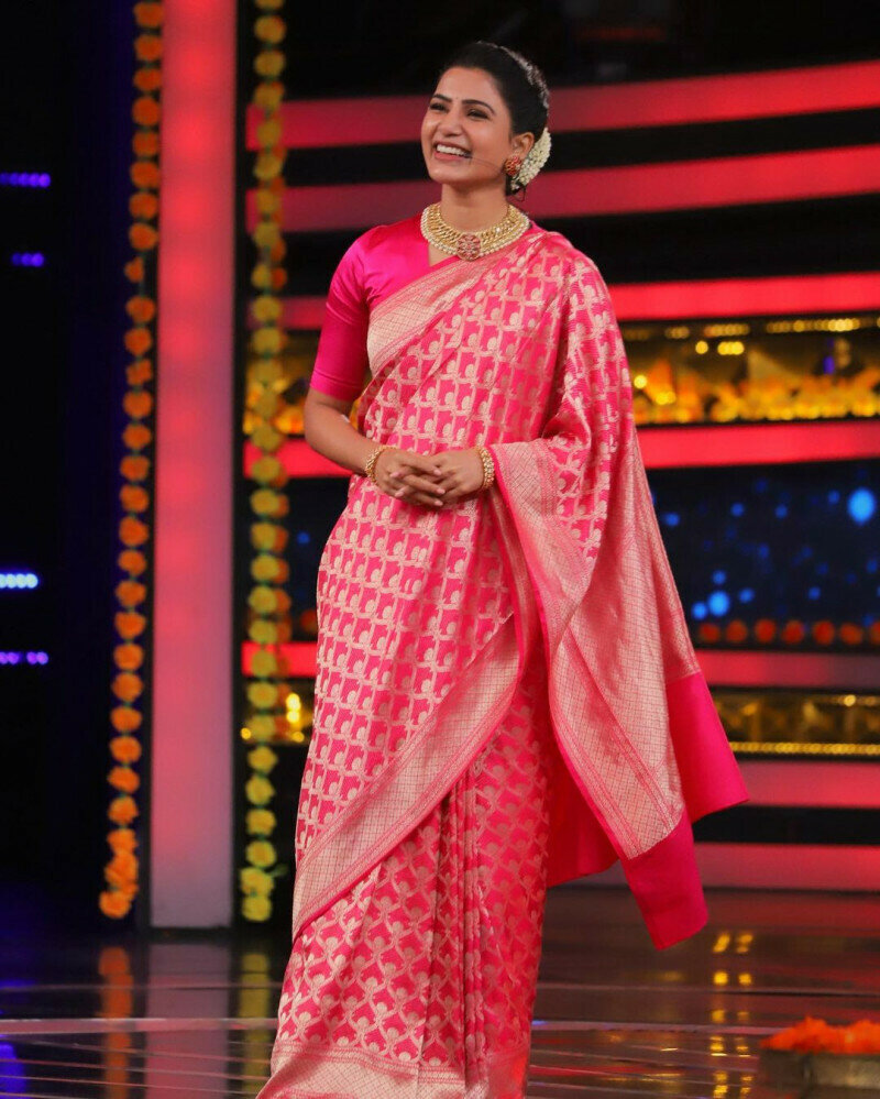 Latest Designer Pink Saree