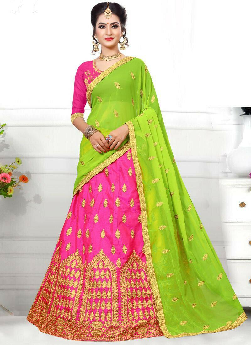 Latest Green Sana Silk Designer Lehenga Choli