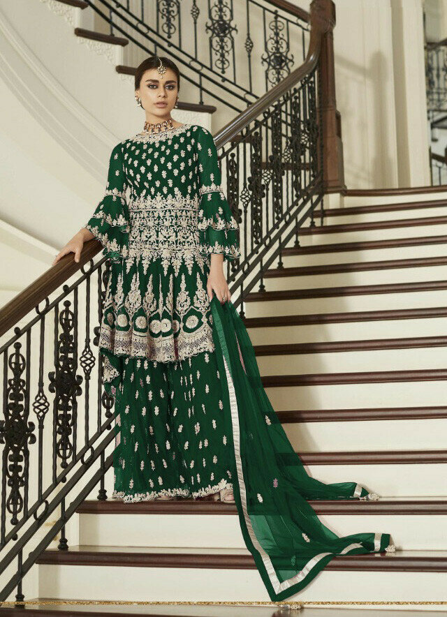 Latest Gren Color Heavy Net Party Wear Palazzo Suit