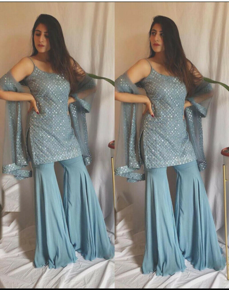 Latest Grey Color Party Wear Sharara Suit