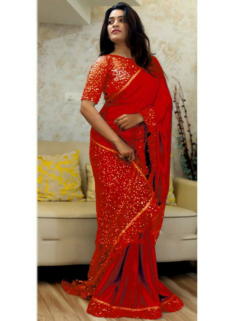 Latest Indian Red Paper Silk Naylon Net Sequnce Sarees Collection