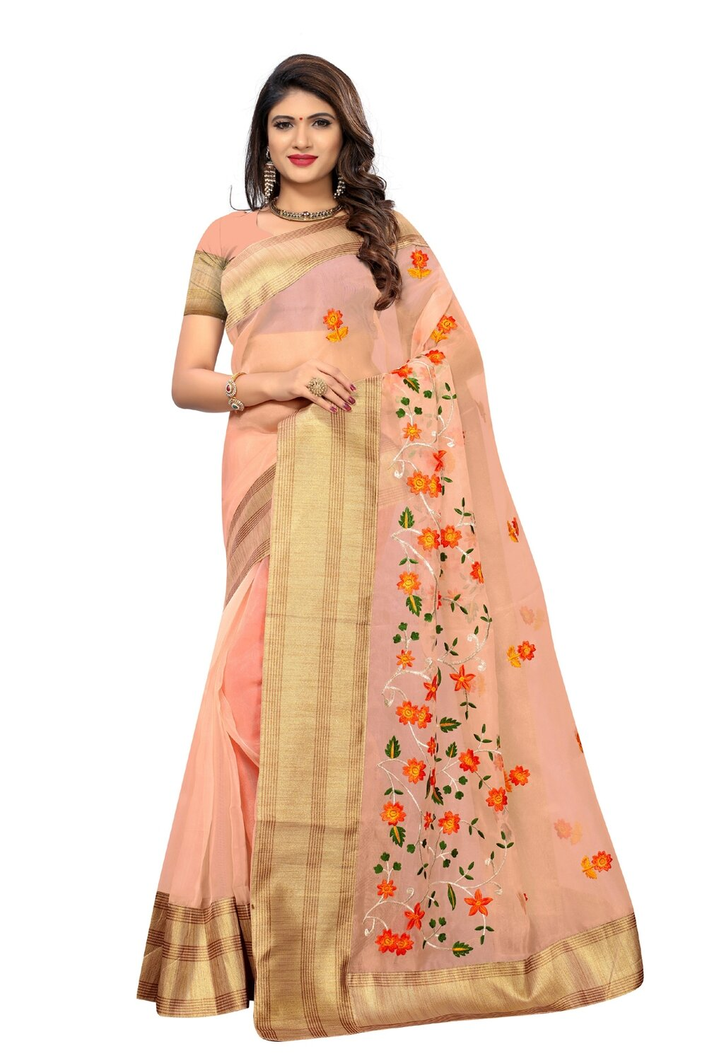 Latest Peach Embroidered Poly Net Saree With Blouse
