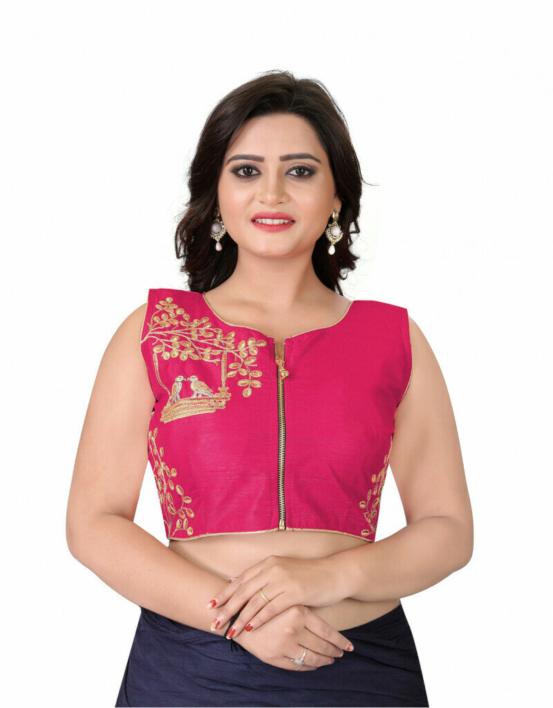 Latest Pink Color Front Zipper Stitched Wedding Blouse
