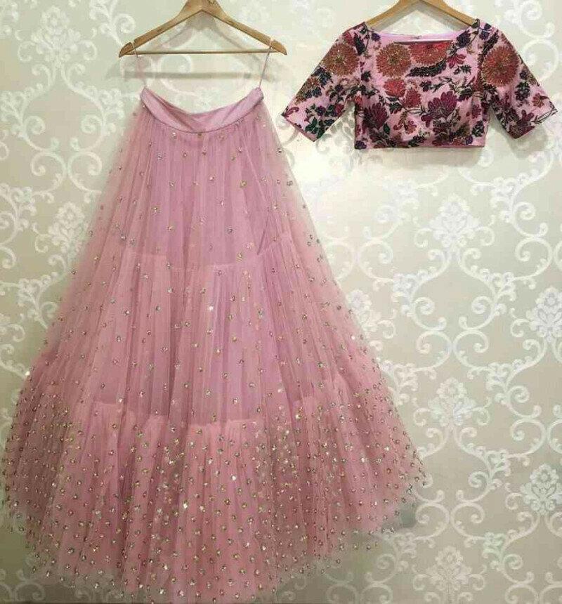 Latest Pink Color Net Lehenga Choli