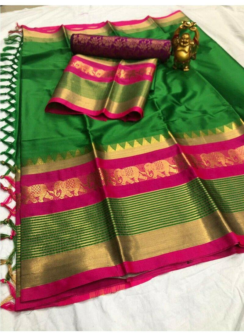 Latest Trends Desinger Parrot Color Cotton Silk Saree