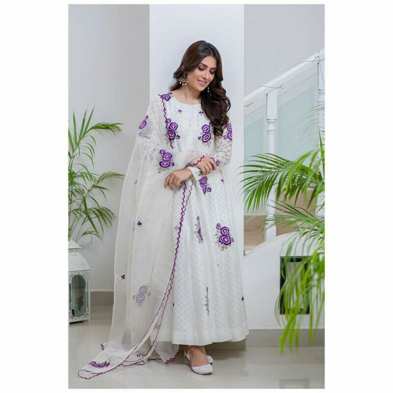 Latest White Color Palazzo Pent Suit