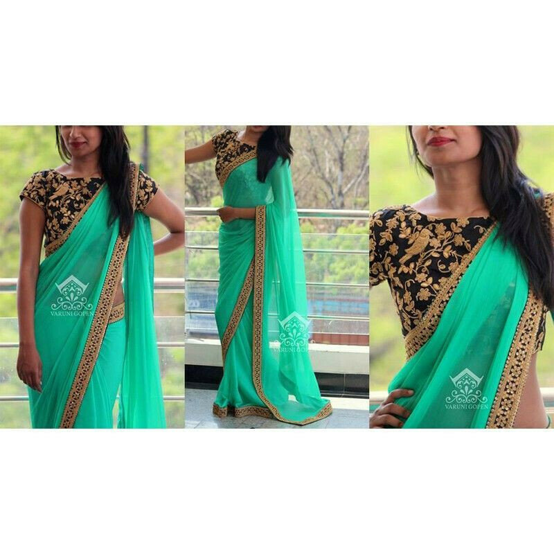 Light Green Georgette Fancy Saree Collection