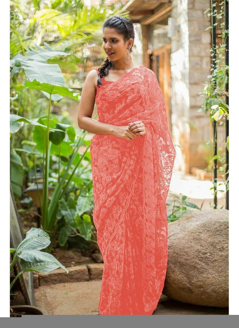 Light Peach Naylon Net Festive Wear Traditional Saree With Fancy Thread Work