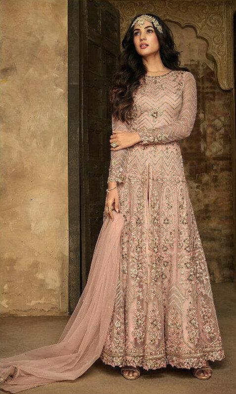 Light Pink  Colored  Anarkali  Suit