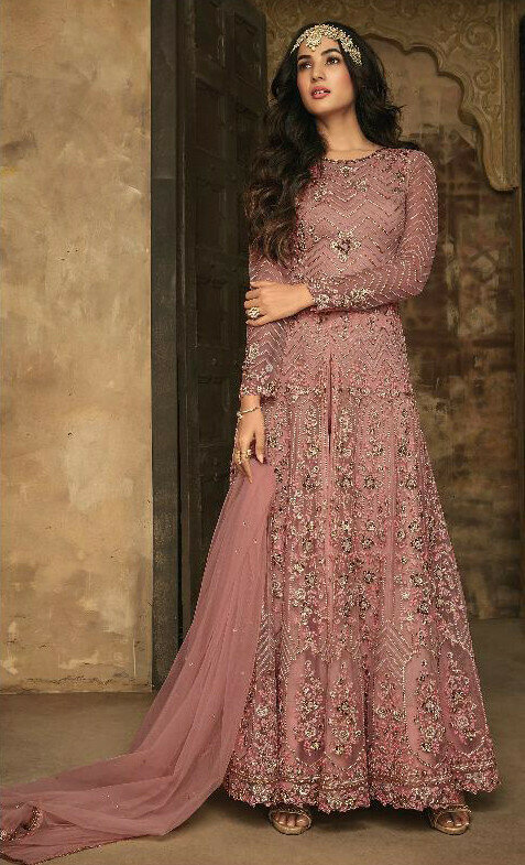 Light Pink Color  Anarkali  Suit With  Embroidery Work