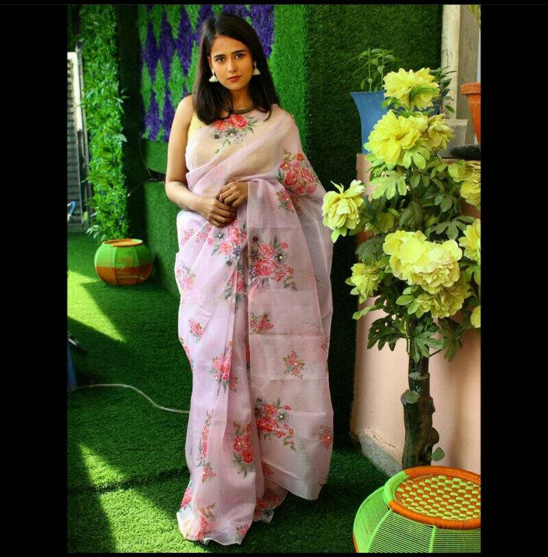 Light Pink Floral Organza Silk Designer Saree
