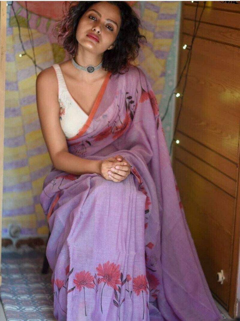 Light Purple Floral Digital Printed Casual Wear Saree