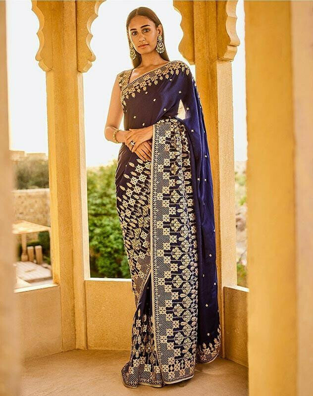Lovely Blue Colour Georgette With Embroidery Dori Work Saree
