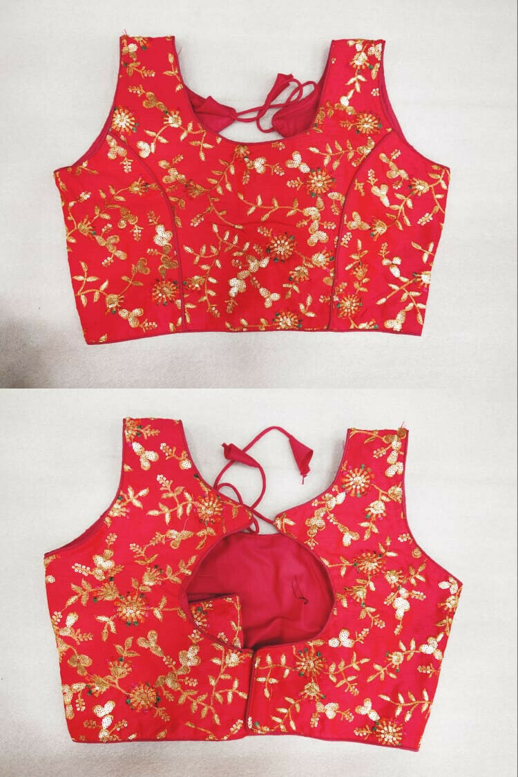 Low Price Red Color Embroidery Work Blouse